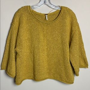 Free People Crop Knit Mustard Sweater Top